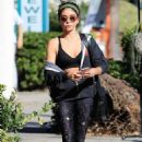Sarah Hyland in Leggings and Sports Bra – Out in Los Angeles - 454 x 681