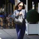 Dakota Johnson in Blue Tight at Cafe Midi in NY - 454 x 681
