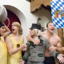 "From left to right: NAT FAXON as Rolf, ERIC CHRISTIAN OLSEN as Gunter, JAMES RODAY as German Messenger, GUNTER SCHLIERKAMP as Schlemmer and WILL FORTE as Otto in Warner Bros. Pictures' and Legendary Pictures' comedy ""Beerfest."" Pho"