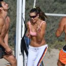 Alessandra Ambrosio – playing beach volleyball on the beach in Santa Monica
