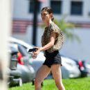 Phoebe Tonkin in Black Denim Shorts in Los Angeles
