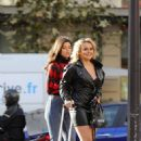 Tallia Storm in Leather Mini Dress – Out in Paris - 454 x 681