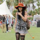 Vanessa Hudgens attended day 1 of the Coachella Music Festival in Indio, CA, April 13. The actress was joined by her boyfriend, Austin Butler