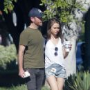 Lily Collins in Jeans Shorts and Charlie Mcdowell – Out in Los Feliz - 454 x 735