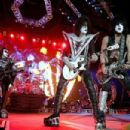 Gene Simmons, Eric Singer, Tommy Thayer and Paul Stanley of KISS, perform during their opening show for the Australian leg of their 40th anniversary world tour at Perth Arena on October 3, 2015 in Perth, Australia.