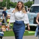 Kimberley Walsh in Jeans Skirt at ITV Studios in London - 454 x 700