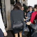 Nina Dobrev in Black Mini Dress – Out in Paris
