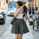 Famke Janssen in Mini Skirt – Out in SoHo