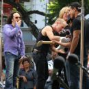 Joe Elliott, Phil Collen and Vivian Campbell of Def Leppard appear for a performance and interview with Mario Lopez of 'Extra' at The Grove, California on June 1st, 2012 - 454 x 569