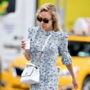 Chloe Sevigny in Blue Floral Dress in New York City - 454 x 568