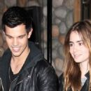 Taylor Lautner and girlfriend, Lily Collins, were spotted leaving a sushi restaurant last night in Squamish, Canada.
