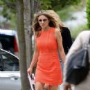 Elizabeth Hurley in Mini Dress Leaves Her Home in London - 454 x 714