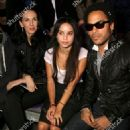 Kanye West, L'Wren Scott, Zoe and Lenny Kravitz attend the Yves Saint Laurent Fashion Show Spring/Summer 2007, on October 5, 2006 in Paris, France - 454 x 681